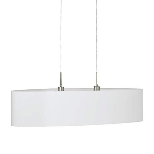 EGLO Pendellampe Pasteri, 2 flammige Textil Pendelleuchte, Hängeleuchte oval aus Stahl und Stoff, Farbe: Nickel matt, weiß, Fassung: E27, L: 100 cm