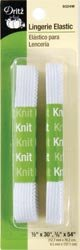 Dritz Lingerie Elastic-White 2 Pack 1/2 inch x 30 inch and 3/8 inch x 54 (4-Pack)