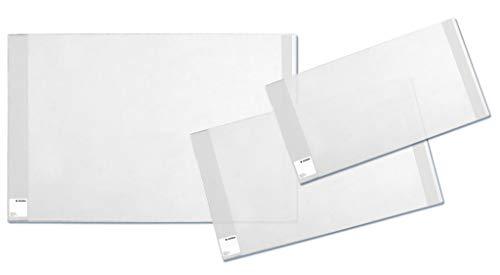 HERMA 20225 Buchumschlag Basic (Größe 27 x 54 cm, transparent) Buchhülle aus robuster Folie mit Namensetikett, 3er Set Buchschoner für Schulbücher