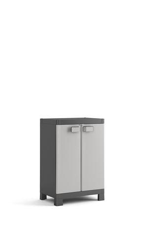 Keter Logico Kunststoffschrank, niedrig, schwarz/grau, 65 x 45 x 97 cm