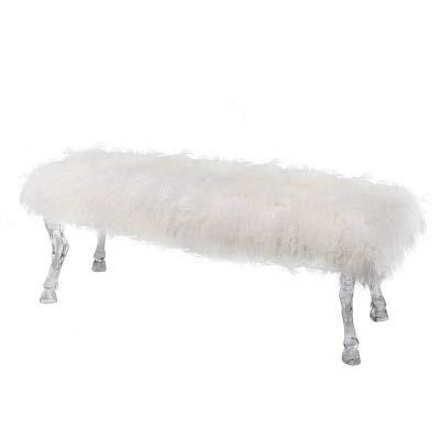 SPFOZ Haus Dekoration Frankreich Entwurfs-Acryl Bank mit Cabriole Bein- und Klauen Fuß/Langen Hocker mit Wolldecke (Color : White Wool)