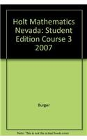 Holt Mathematics Nevada: Student Edition Course 3 2007 0030994055 Book Cover