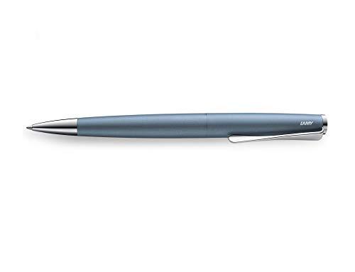 LAMY studio Kugelschreiber 266 – Zeitloser Kuli in der Farbe Glacier aus rostfreiem Edelstahl und propellerförmigem Clip – Stichbreite M