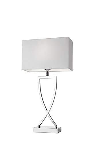 Villeroy&Boch Toulouse Tischleuchte, Metall, E27, 60 W, Silber/Weiß, H 52 cm, Schirm 27 x 12 cm