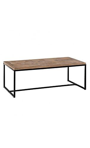 Denzzo – Mesa baja de madera natural metal 120 cm Borra