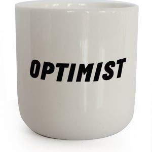 PLTY - Optimist Becher - Tasse ohne Henkel - Handglasiertes Weiß Porzellan - Lustige Tassen - Attitude - Dänisches Design