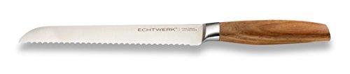 Echtwerk Brotmesser 20 cm Klinge, Holzgriff, Spezialklingenstahl,Sehr Scharf, rostfrei, Holz/Silber, 39,6 x 7,9 x 3,3 cm