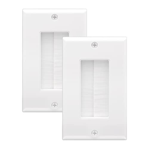 LEENUE Single Gang Brush Wall Plate 2-Pack, Cable Pass Through Insert, Wall Socket for Speaker Wires, Coaxial Cables, HDMI Cables, or Network/Phone Cables, White