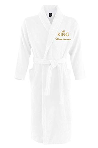 Nashville print factory Sol´s Bademantel Palace Morgenmantel Bestickt mit Wunschname und Motiv/King/Queen/Krone Gold Partner-Look Sauna Bad Name (L/XL, King + Name)