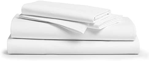 """Comfy Sheets 100% Egyptian Cotton King Sheet Set 1000 Thread Count 4 Pc King White Bed Sheet with Pillowcases, Hotel Quality Fits Mattress Up to 18"""" Deep Pocket"""