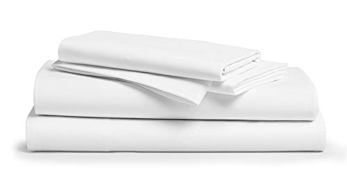 1000-Thread-Count 100% Pure Cotton Bed Sheets on Amazon - 4 Pc Queen Size White Sheet Set, Single Ply Long Staple Combed Cotton Yarns, Best Luxury Sateen Weave, Fits Mattress Upto 18'' Deep Pocket
