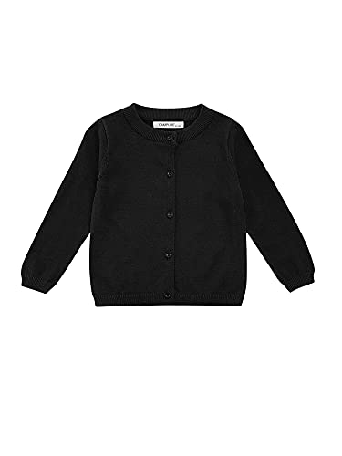 Toddler Girls Knit Cardigan Sweaters Solid Color Round Collar Long Sleeve Button Down Outwear Casual Tops (Black, 3-4T)