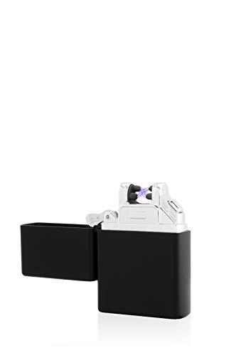 TESLA Lighter T03 Lichtbogen-Feuerzeug, elektronisches USB Feuerzeug, Double-Arc Lighter, wiederaufladbar, matt Schwarz