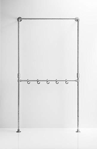 FH FalkonHome Garderobe Industriedesign; Garderobe Wandmontage; Garderobe Rohrverbinder; Garderobe Stahlrohr verzinkt; Garderobenständer Metall; Wandgarderobe Stahlrohr; Kleiderständer;