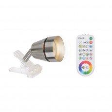 iDual JE2410791 A, Portable LED Leuchte Ivory Clip mit Fernbedienung, Plastik, Gebürtstetes Nickel, 7 x 7 x 13 cm