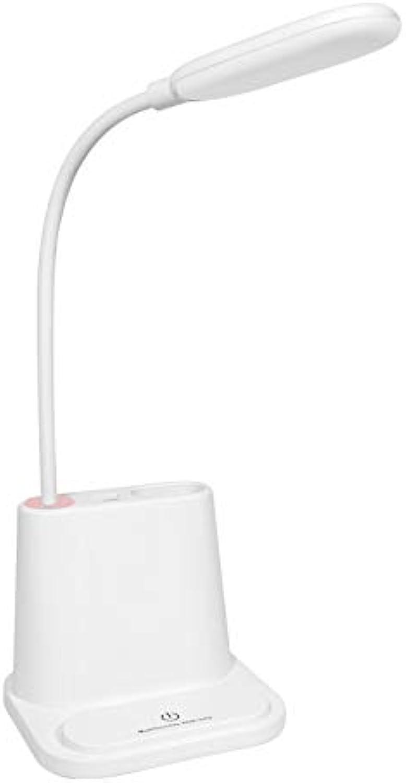 HAOTAIDENG Tischlampe Flexible Led Tischlampe Schreibtisch Lampen Lesen Kinder Telefon Stifthalter Usb Lade Kreative Note Dimmen Augenschutz Lichter Wei