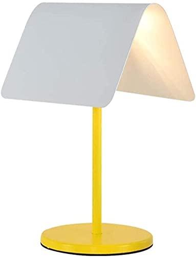 YMLSD Lámparas de Mesa, Iluminación Decorativa para Interiores Lámpara de Mesa Lámpara de Mesita de Noche Led Lámpara de Mesita de Noche Pequeña Y Moderna con Base Estable Pantalla de Metal Blanco Ad