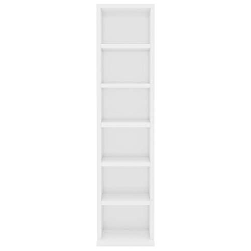 Armadio Porta CD Dvd con 6 Scomparti Aperti Robusto Elegante Mobile Scaffali Espositori Organiser Casa Bianco Lucido in Truciolato, 21x16x88 cm