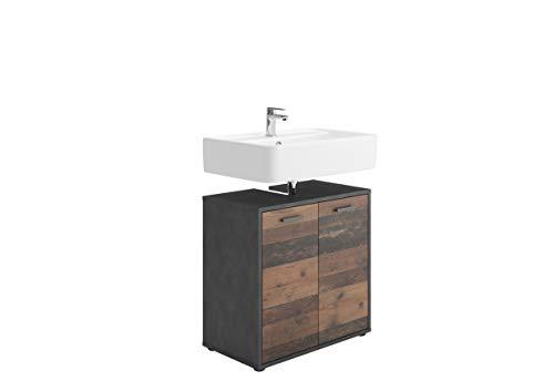 FMD furniture Waschbeckenunterschrank, Spanplatte, Matera/Old Style dunkel, ca. 60 x 59 x 33 cm