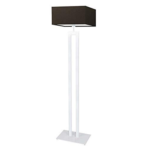 Toronto - Lámpara de pie con pantalla de lámpara, marco marrón y blanco