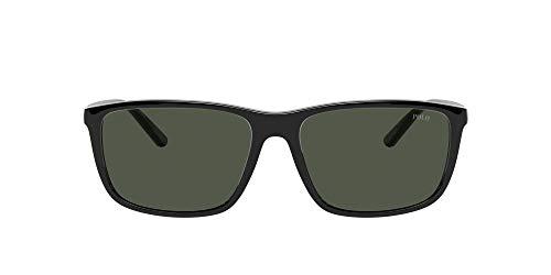 Polo Ralph Lauren Ph4171 Óculos de sol retangulares masculinos, Preto/Verde, 57 mm