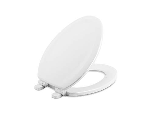 KOHLER Stonewood Quiet-Close Elongated toilet seat, Slow Close, White Toilet Seat, Wood Seat, K-20466-0, White