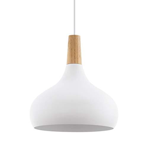 EGLO Lámpara Colgante Sabinar, contemporánea Lámpara en Suspensión de 1 Bombilla, Lámpara Colgante de Acero y Madera, color Blanco, Marrón, Casquillo E27, 28 cm