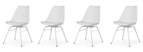 Tenzo Tequila 4er-Set Designer Stühle Brad, Polyurethan, Lederoptik, weiß/weiß, 54 x 48.5 x 82.5 cm