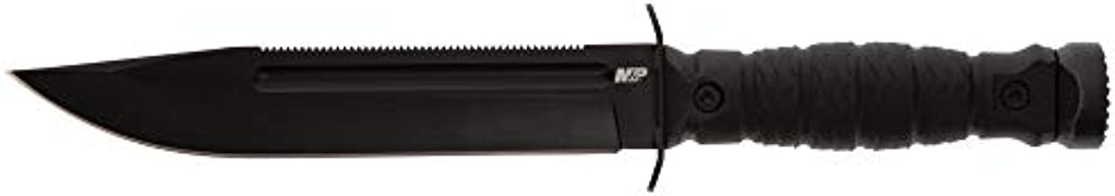 Smith & Wesson M&P Special Ops High Carbon S.S. Full Tang Fixed Blade Survival Knife with Clip Point, Rubberized Handle, Sawback and Pommel for Outdoor and Tactical