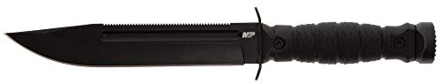 Smith & Wesson M&P Special Ops High Carbon S.S. Full Tang Fixed Blade Survival Knife with Clip Point, Rubberized Handle, Sawback and Pommel for Outdoor and Tactical , Black