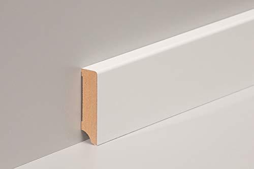 KGM Sockelleiste weiß hochglanz 58mm | Modern Fussleiste weiss ✓MDF Leiste ✓für PVC Vinyl & Laminat ✓trendige hochglanz Oberfläche✓unsichtbare Clip Montage |gerade Sockelleisten 16x58x2500mm