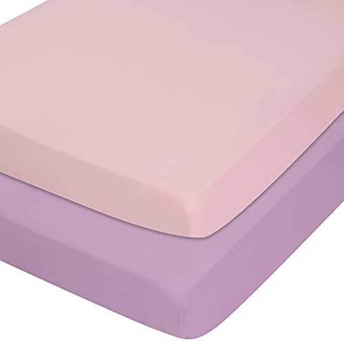 """TILLYOU 2-Pack Microfiber Fitted Crib Sheet Set for Baby Boys Girls, Super Soft Toddler Bed Sheets for Standard Crib and Toddler Mattresses, 28""""x52""""x8"""", Lavender & Lt Pink"""
