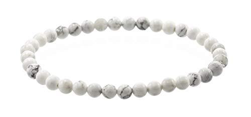 Glossy 4mm Round White Howlite Stretch Bracelet , 6.5'