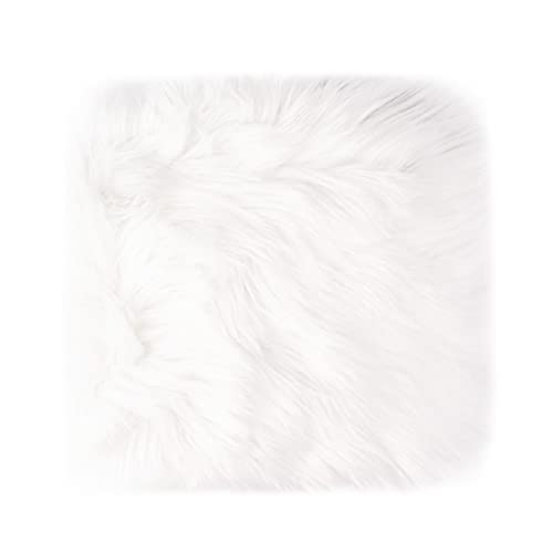 Small Product Photo Background & Luxury Photo Props, 12 Inches Small Square Faux Fur Sheepskin Cushion Fluffy Plush Area Rug, Great for Tabletop Photography, Jewelry, Nail Art, Home Decor (White)