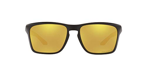 Oakley Gafas de sol rectangulares Sylas Oo9448 para hombre, Negro mate/Prizm 24k Polarized, 57 mm