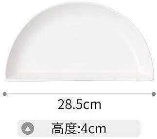 Plato de cerámica simple blanco puro plato de cerámica para el hogar, tres o cuatro puntos de separación, plato de fitness (color blanco, tamaño: 11 pulgadas medio disco)