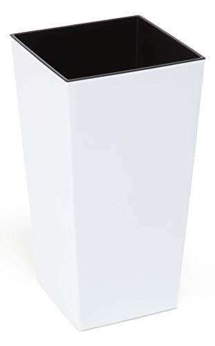 Happy Flower MultiProject | Blumentopf | Pflanzkübel | inkl. Einsatz | Quadrat | Glatte Oberfläche | 4 Größen | Weiß | Übertöpfe (30 cm x 30 cm/Höhe 57 cm)