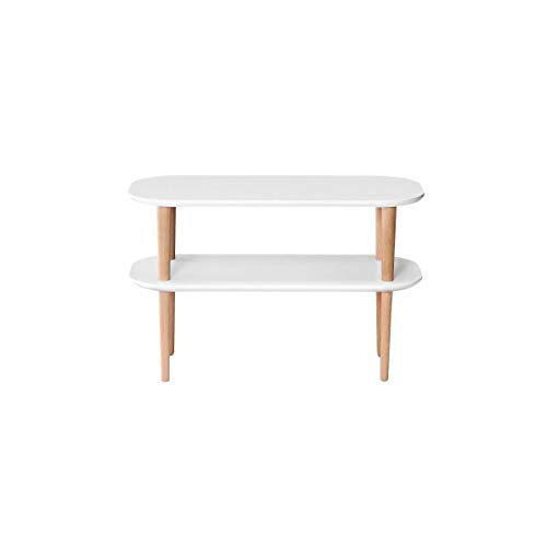 FINLANDEK Meuble TV INKERI scandinave en MDF blanc laque mat + pieds bois massif - L 80 cm