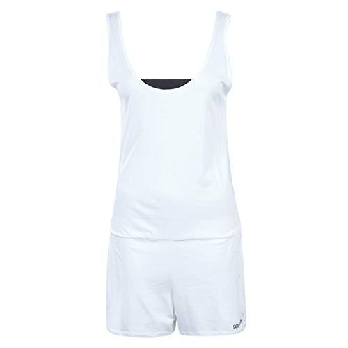 Calvin Klein Scoop Back Romper Mono, PVH White, Large para Mujer