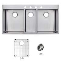 Franke HFT4322-4KIT Vector 43 inch Handmade Dual Mount Triple Bowl (3 Bowl) Kitchen Sink Kit, Stainless Steel