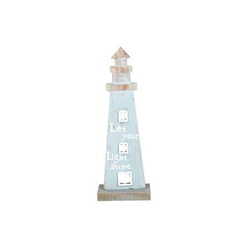 CAPRILO Figura Decorativa Marinera de Madera Faro Adornos y Esculturas. Decoración Hogar. Regalos Originales. 28 x 10 x 7.5 cm.