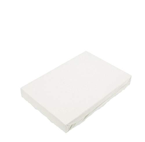 EXKLUSIV HEIMTEXTIL Jersey Spannbettlaken Spannbetttuch Bettlaken Marke Rundumgummizug 180-200 x 200 cm Weiß
