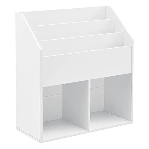 Étagère pour Chambre Enfant 3 Compartiments Verticaux 2 Casiers Ouverts Bibliothéque Meuble de Rangement pour Jouets Panneau de Particules Mélaminé 79 x 72 x 31 cm Blanc