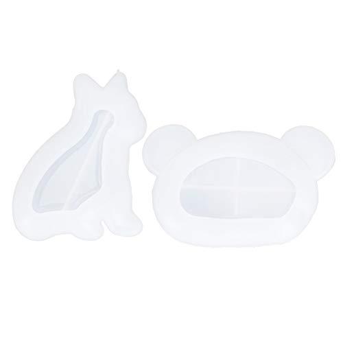Moldes de resina de silicona de 2 piezas, moldes para bandeja de resina, molde para plato con forma de oso de perro, moldes de fundición epoxi para placa de joyería, bandeja rodante