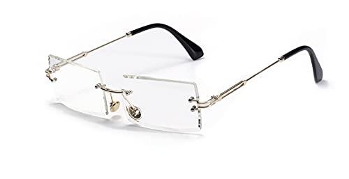 JINZUN Gafas de Sol cuadradas sin Marco Gafas de Borde con Corte de Diamante Retro Gafas de protección UV de Moda Color Transparente