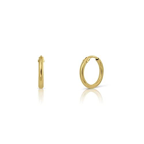 Par de MINIS aros en oro Certificado. Mujer. ARO de 6 mm tubo 1.mm (4-5115-6)