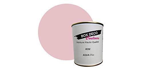Peinture acrylique aspect satin Aqua déco - Murale - 44 couleurs - 750 ml - 7.5 m² (Rose)