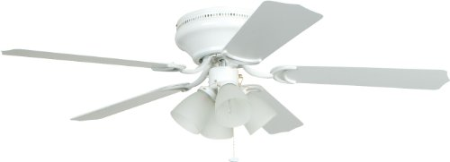 Craftmade BRC52WW5C Brilliante Hugger Fan Flush Mount 52' Ceiling Fan with LED Light Kit and Pull Chain, 5 Blades, White