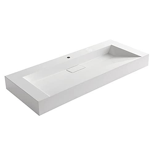 STONEART Waschbecken BB087-6E (Mineralguss) weiß/120cm/glänzend