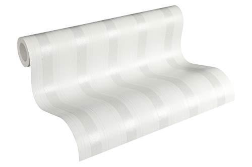 Livingwalls Vliestapete mit Glitter Neue Bude 2.0 Tapete gestreift 10,05 m x 0,53 m weiß Made in Germany 361671 36167-1